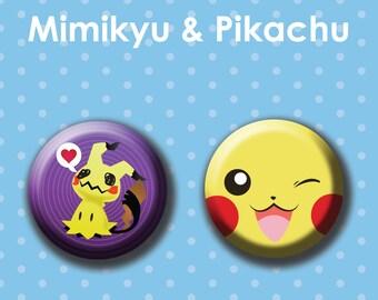 "Mimikyu & Pikachu 1.5"" Button Set"
