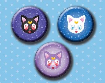 """Sailor Scout Guardian Cats 1.5"""" Button Set"""
