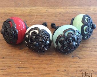Ceramic & Black Brass Decorative Knob - Furniture Pull - 3 colors -