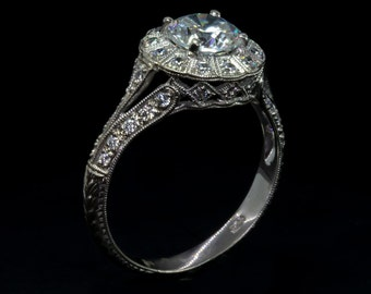 94462a55c215ef Edwardian Style Antique Inspired Engagement Ring /White Gold Diamond Mill  Grained Edges Engagement Ring/Flower Ring/Setting Only Mount Ring