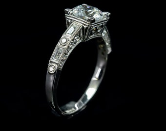 123d05d8887cf7 Edwardian Style Antique Inspired Engagement Ring/14 or 18 K Diamond  Filigree Milgrain and Engraved High Polish Ring/Setting Only Semi Mount