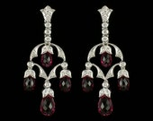 Edwardian Style Antique Inspired Chandelier Earrings 18 KWG Diamond and Genuine Briolette Pink Sapphire Mill Grained Screw Back Earrings