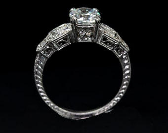 34e1055739e943 Edwardian Style Antique Inspired Engagement Ring/18 or 14 K White Gold  Diamond Mill Grained and Engraved Engagement Ring/Setting Only Semi