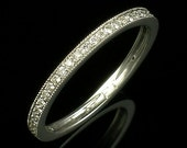 Platinum Mill Grained High Polished Wedding Ring Diamond Platinum Narrow Eternity Wedding Band Women 39 s Wedding Ring size 6 and is sizable