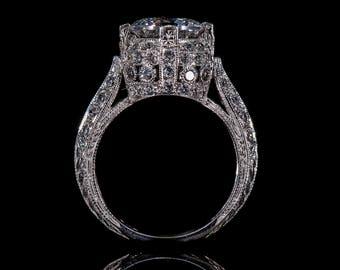 Edwardian Style Antique Inspired Engagement Ring/18 KWG or Platinum Diamond Milgrain Engraved Engagement Ring/Semi Mount Ring Setting Only
