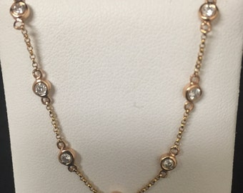 14 K Rose Gold 16 Inch Diamond by The Yard Pendant