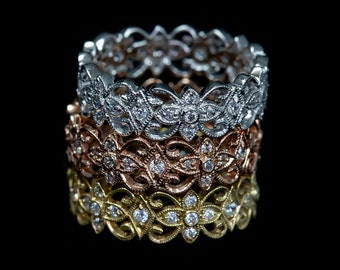 Nature Inspired Stackable Wedding Ring/18 KG and Diamond Floral Vine Mill Grained Eternity Wedding Ring/Floral Engagement Ring/Wedding Band