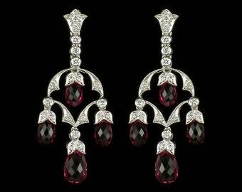 Edwardian Style Antique Inspired Chandelier Earrings/18 KWG Diamond and Genuine Briolette Pink Sapphire Mill Grained Screw Back Earrings