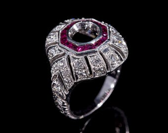 Art Deco Style Antique Inspired Engagement Ring/18 K Genuine Ruby and Diamond Milgrain and Engraved Engagement Ring/Setting Only Semi Mount