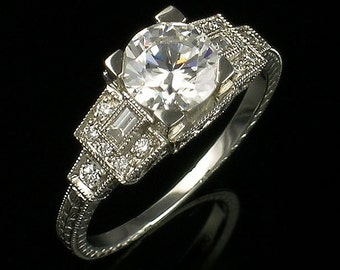 Art Deco Style Antique Inspired Engagement Ring/Gold or Platinum and Diamonds Filigree Milgrain and Engraved Engagement Ring/ Setting Only