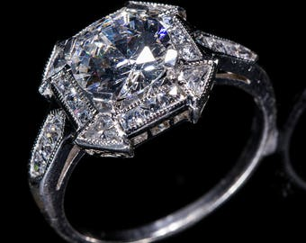 Art Deco Style Antique Inspired Engagement Ring/18 KWG or Platinum Natural Diamond Halo Filigree and Milgrain Engagement Ring/Setting Only