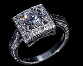 Art Deco Style Engagement Ring/18 K White Gold or Platinum Diamond Halo Milgrain and Engraved  Engagement Ring/Setting Only Semi Mount