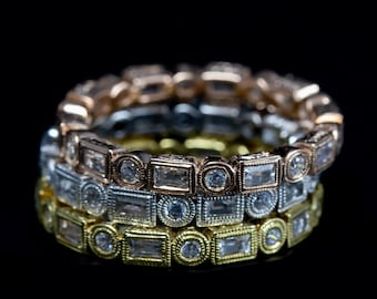 Antique Inspired Stackable  Ring/18 KG and Diamond Bezel Set Mill Grained and Engraved Eternity Band/Women's Diamond Band/Wedding Band