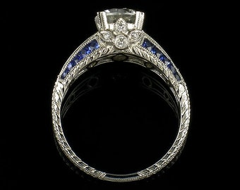 Edwardian Style Antique Inspired Engagement Ring/WG Genuine Blue Sapphire and Diamond Mill grained and Engraved Engagement Ring/Setting Only