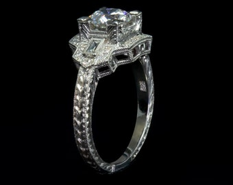 Art Dec Style Antique Inspired Engagement Ring/14 or 18 KW Gold Baguette and Round Diamonds Engraved Engagement Ring/Setting Only Semi mount