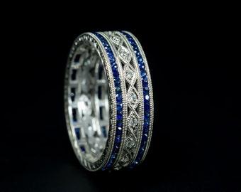 Art Deco Style Eternity Wedding Ring/18 K W Gold Diamond and Genuine Blue Sapphire Hand Engraved Wide Eternity Band/Eternity Women's Ring