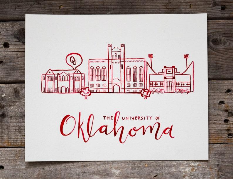 University of Oklahoma Handmade Watercolor Campus Painting image 1