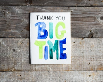 Thank You Card • Many Thanks Card • Appreciation Card • Hand Painted Watercolor Card