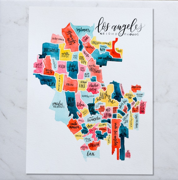 Los Angeles Neighborhoods Map Los Angeles Neighborhood Map California Map Watercolor Map | Etsy Los Angeles Neighborhoods Map