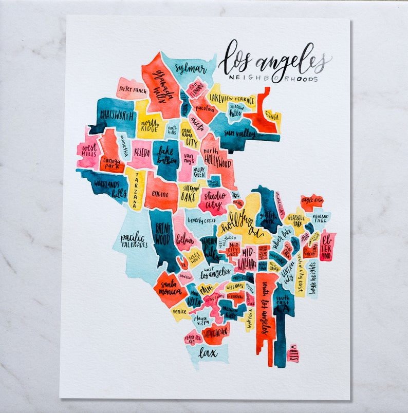 Los Angeles Neighborhood Map California Map Watercolor Map | Etsy on