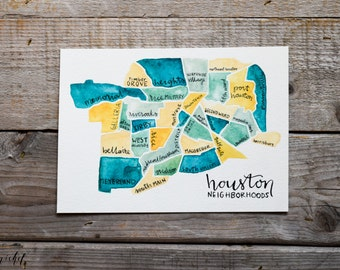 Houston Watercolor Neighboorhood Map, Houston, Texas Map