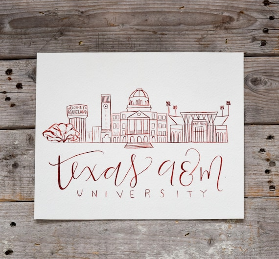 Texas A M University Handmade Watercolor Campus Painting Etsy