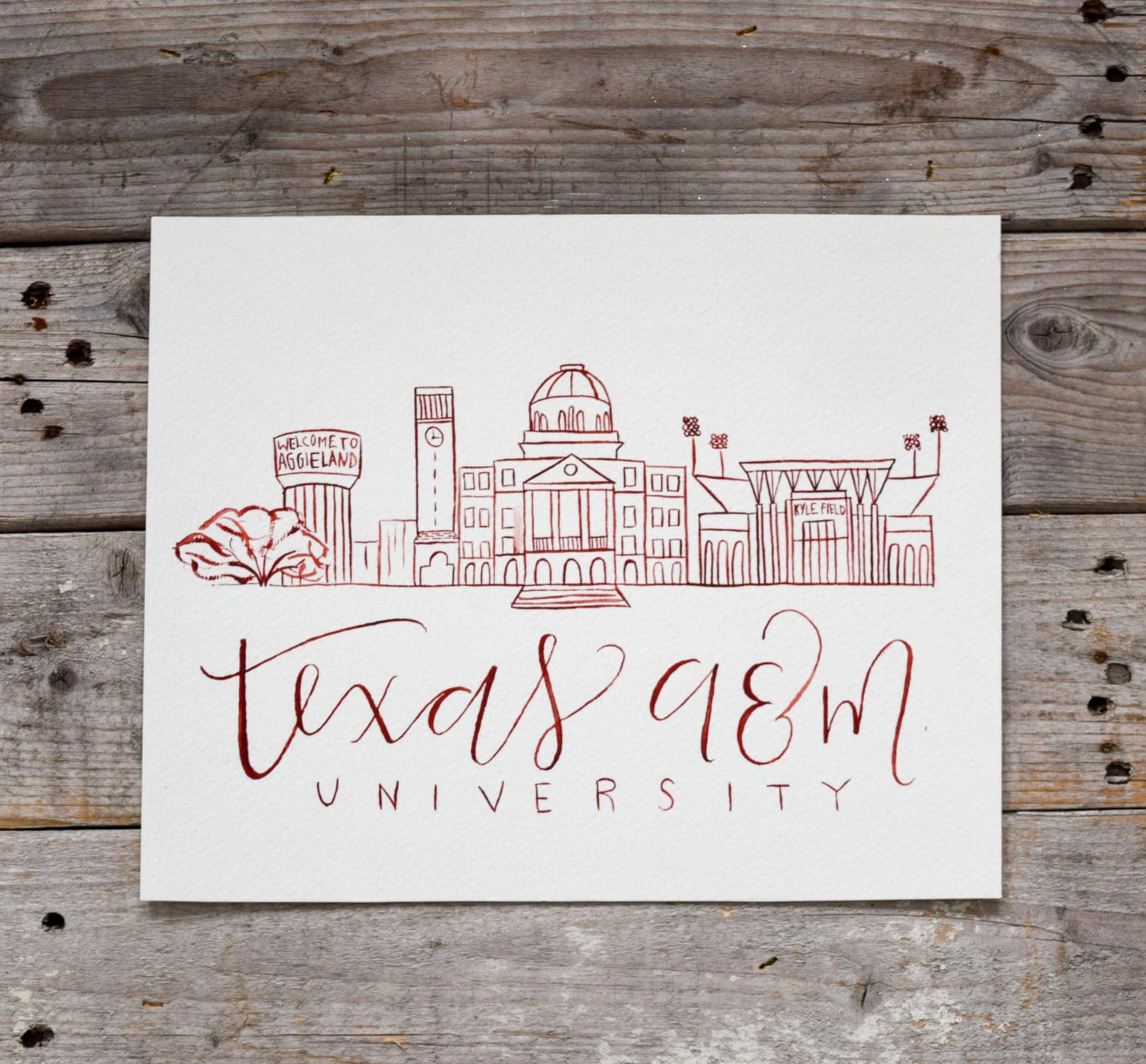 Texas A&M University Handmade Watercolor Campus Painting
