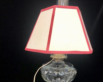 30 base circumference Original antique Victorian oil lamp/' electrified and functioning hand painted peach matte glass base; 22.75 High