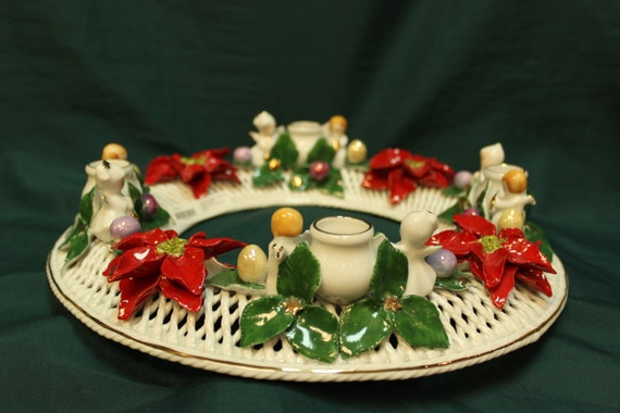 advent christmas candle wreath ring romanian porcelain etsy. Black Bedroom Furniture Sets. Home Design Ideas