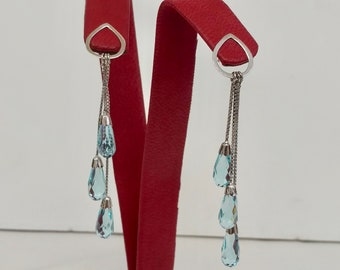 18K White Gold and Blue Topaz Drop Earrings (EARCOL10021)