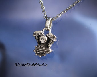 Panhead Motor Pendant Sterling Silver Old School Motorcycle Jewelry