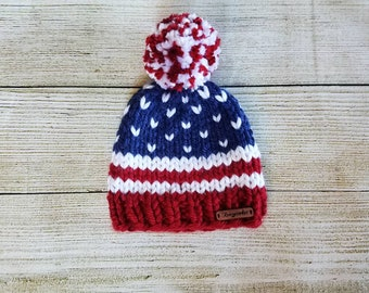 9cd9c612 patriotic knit hat - knit child hat - team USA hat