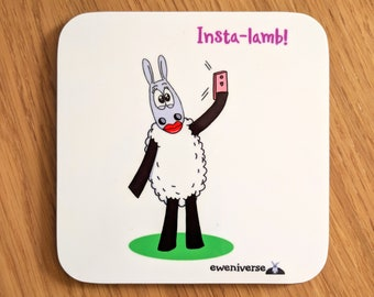 Insta-Lamb!, Fun coaster, Funny drinks mat set, Sheep gifts, Colorful homeware, gifts for knitters, Cute gift, Puns, Gift for her
