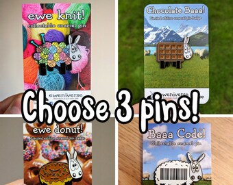 Choose any 3 pins, Multi buy, cute enamel pin, sheep badge, funny pin badge, lapel pin, sheep pin, sheep gifts, funny gifts, knitting gifts