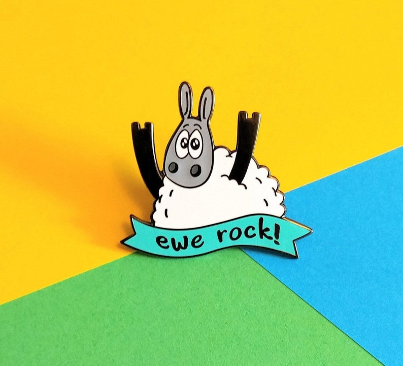 Ewe rock  Enamel pin Cute sheep badge You rock Knitting Turquoise
