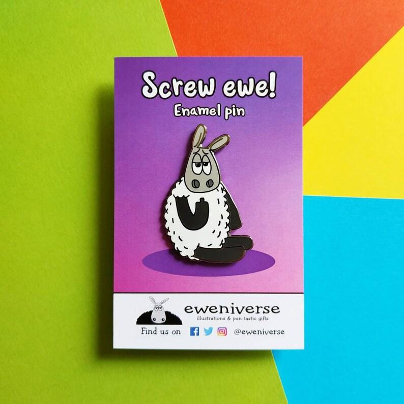 Screw ewe Enamel pin pin badge knitters pin Sheep pin image 0