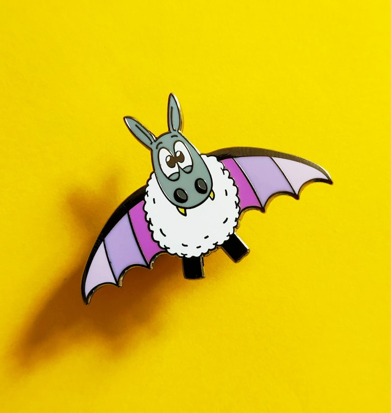 Baaaat Sheep x Bat enamel pin Cute pin badge Fun lapel pin image 0