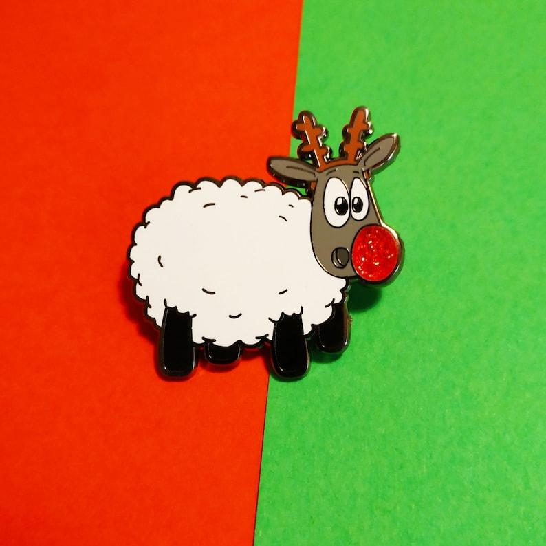 R-ewe-dolph Cute sheep enamel pin Christmas pin badge Xmas image 0