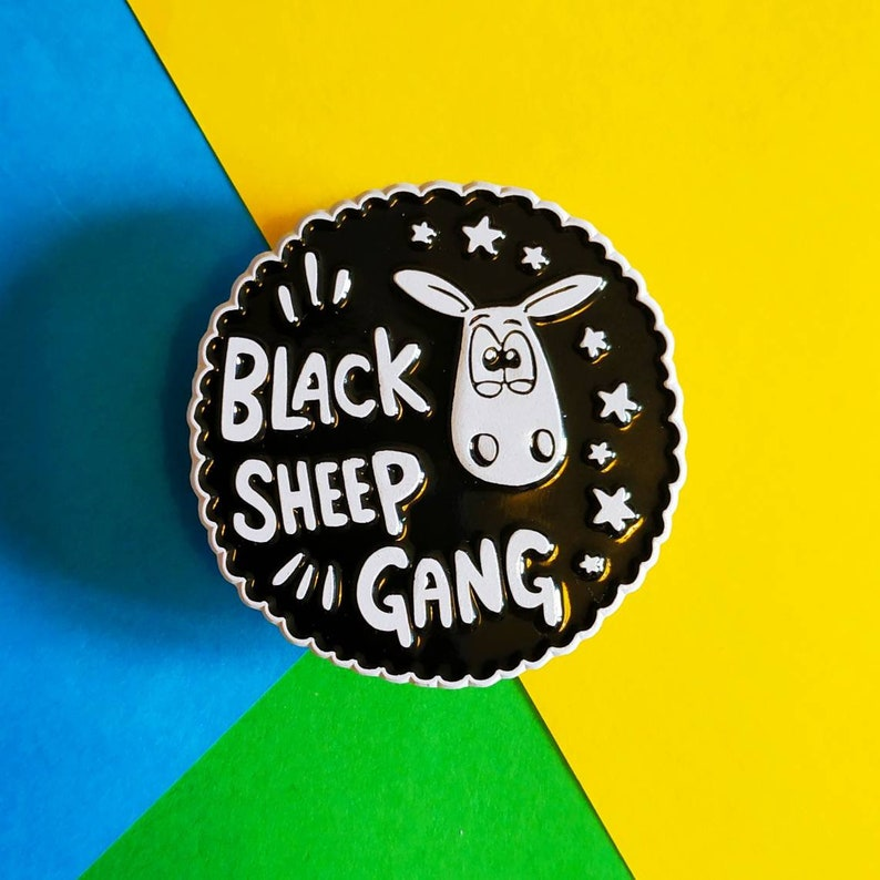 Black Sheep Gang Enamel pin pin badge knitters pin Sheep image 0