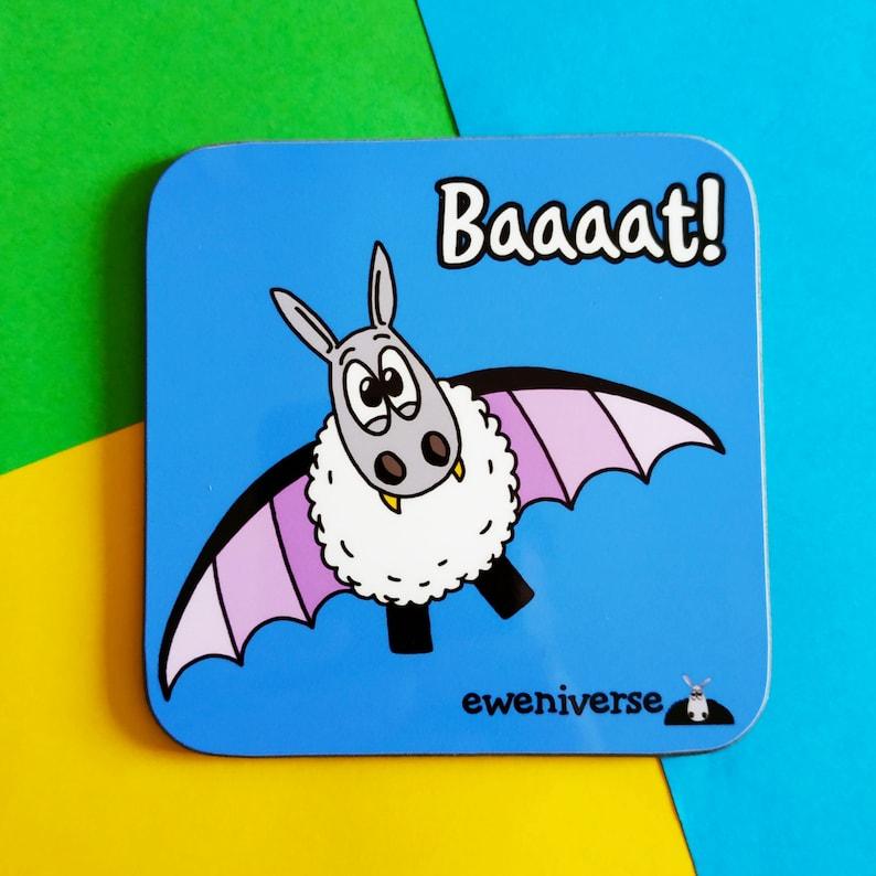Baaaat Fun coaster Cute bat sheep drinks mat Sheep gifts image 0