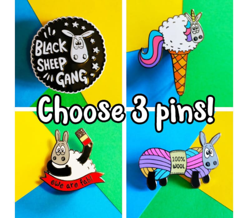 Any 3 enamel pins  Multi buy offer bargain pins sheep image 0