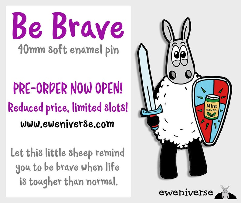 Be Brave  PRE-ORDER  enamel pin Sheep pin badge reduced image 0
