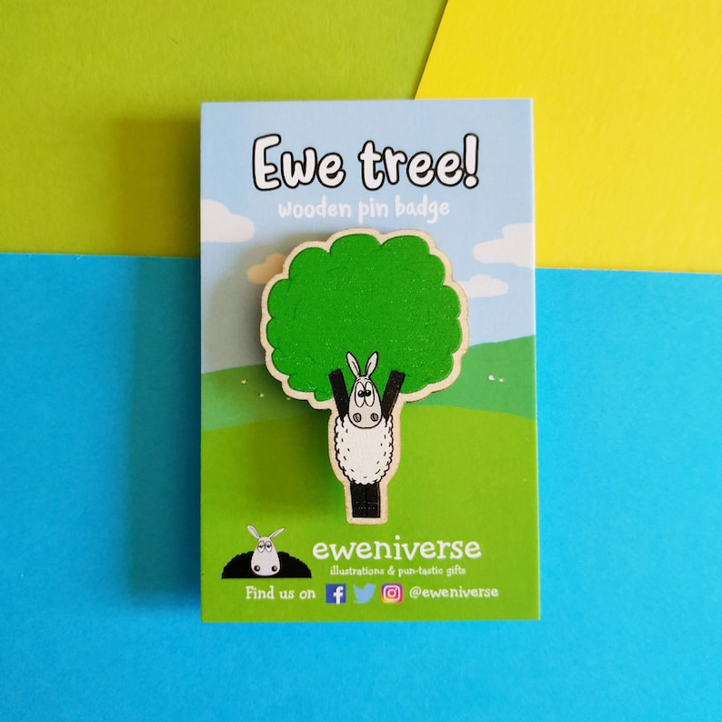 Ewe tree Wooden pin Pin badge Knitters pin Sheep gift Yew image 0