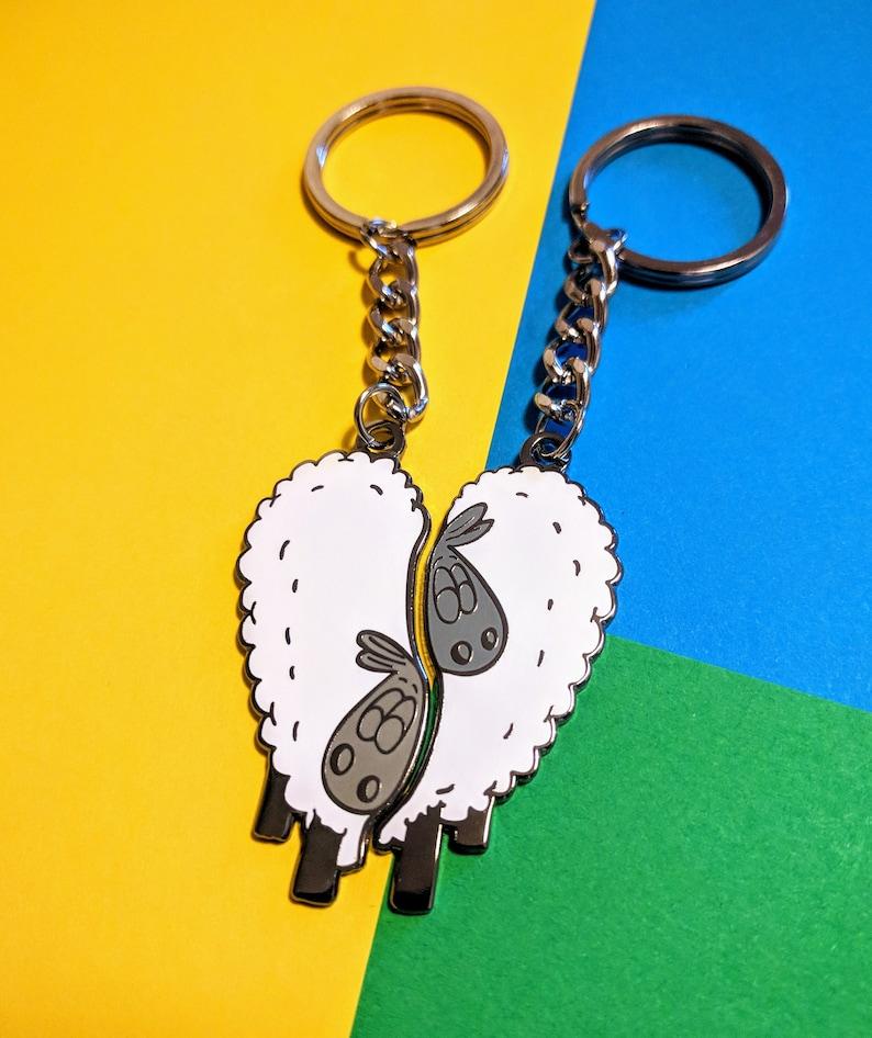 FriendSheep  Keyring set Cute key chains to share image 0