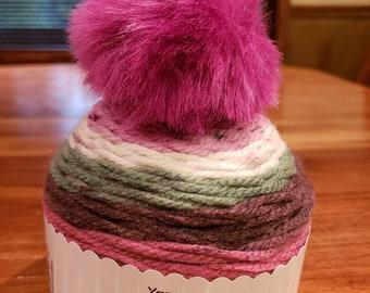 Caron Chunky Cupcakes Grapesicle Newest Caron Cake Shop. Beanie hat yarn  kit. Small yarn cake with pompom. Pompom hat. a509d9ce8dc
