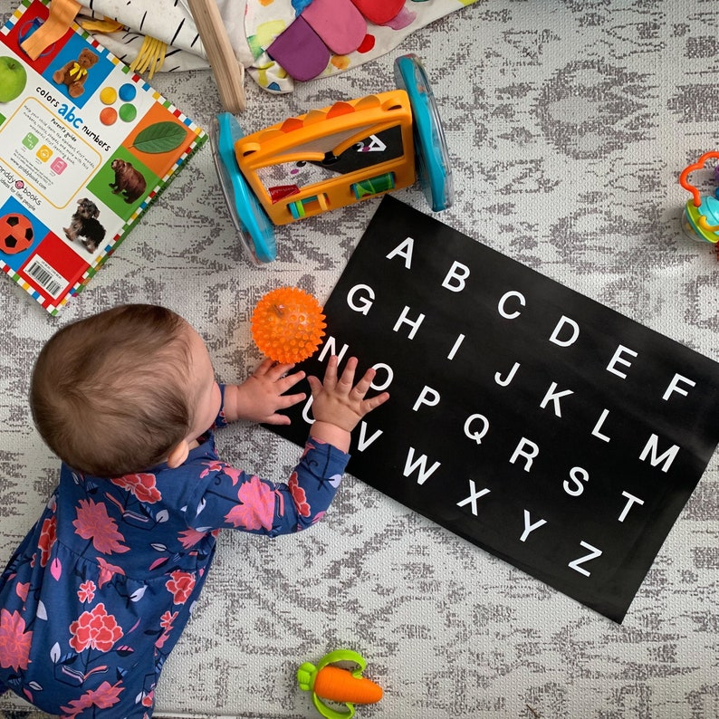 alphabet leather mat letter recognition at home learning Easter gift for toddler sensory play leather letter mat Montessori letter set