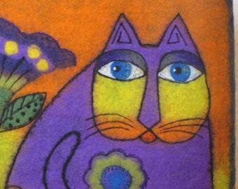 Art bag, shoulder bag, felted bag, Cat in violet bag, felt bag, tote bag, felted bag, boiled wool bag, gift for her, OOAK bag, WoolDreamer