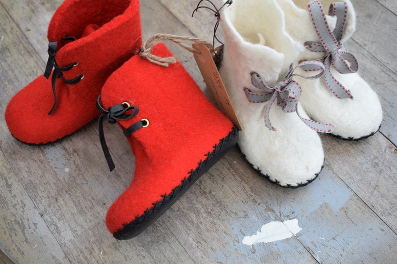 bccc72f780a42 Felted baby shoes leather sole Newborn booties, Baby felt shoes, Gift first  birthday,Merino wool shoes,white Baby ankle boots, Baby slippers