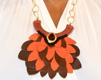 NEW*  3pc bold leather statement jewelry set Hand made