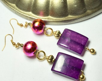 Purple Silk beaded earrings